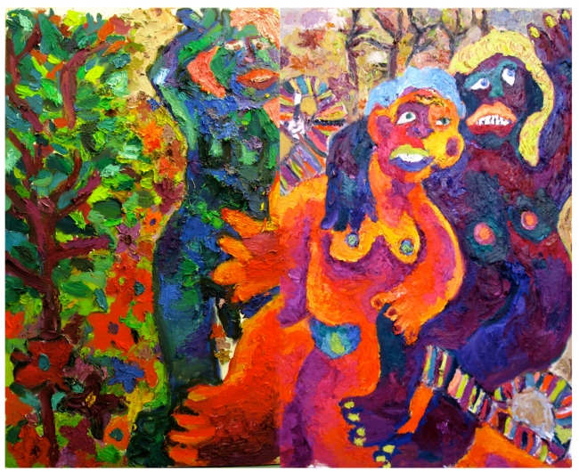 Lillith and Eve Leave the Garden (diptych) oil on canvas 6 x 4 feet, 5 x 4 feet 2011