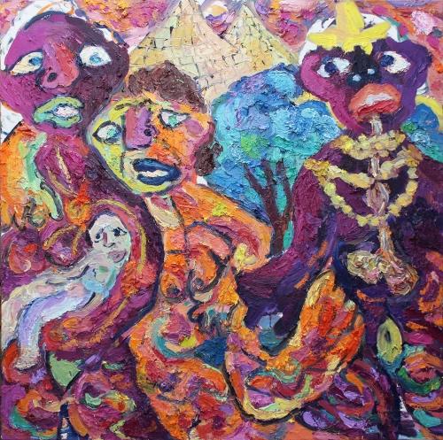 Strange Friends oil on canvas 4 x 4 feet 2014