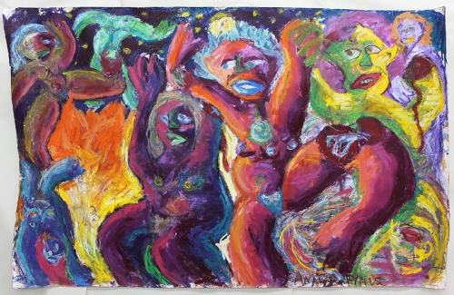 Miriam's Dance oil stick and oil pastel on paper 4 x 5 feet 2014